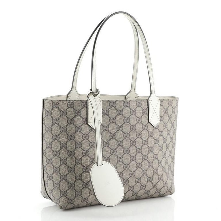 Gray Gucci Reversible Tote GG Print Leather Small For Sale