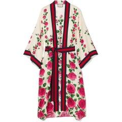 GUCCI Rose Garden Print Silk Kimono IT42 US4-6