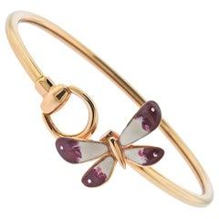 Gucci Rose Gold Butterfly Enamel Bracelet