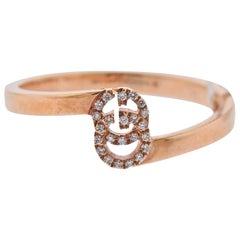 Gucci Rose Gold Diamond Running G Ring