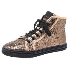 Gucci Rose Gold Glitter California High Top Sneakers Size 38