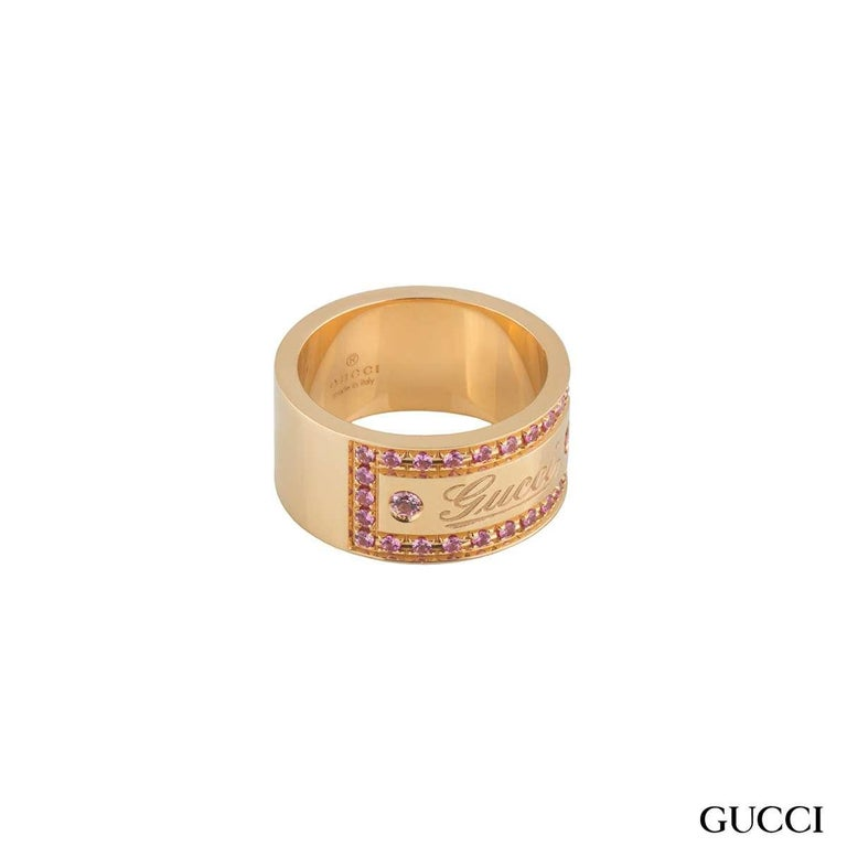 Gucci Rose Gold Pink Spinel Band Ring In Excellent Condition For Sale In London, GB