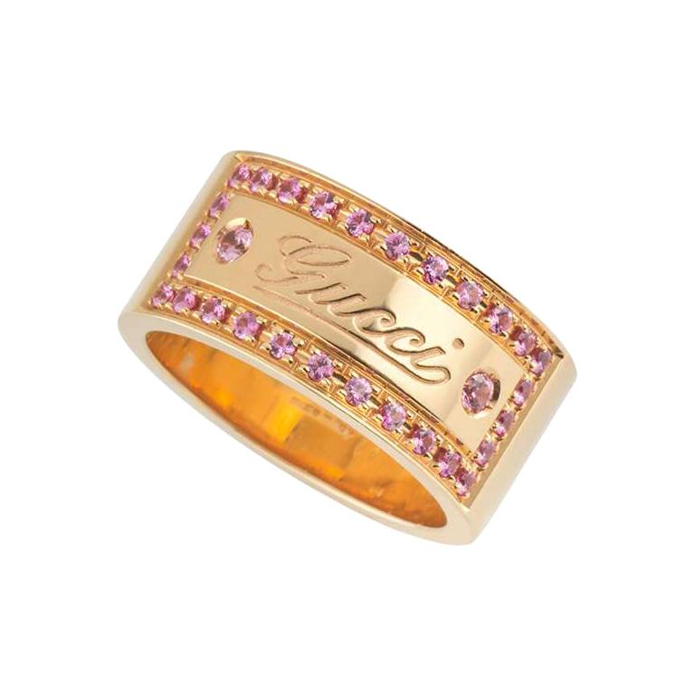 Gucci Rose Gold Pink Spinel Band Ring For Sale