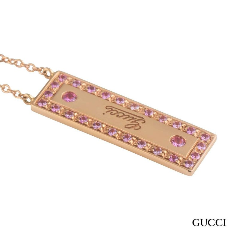 Gucci Rose Gold Pink Spinel Pendant In Excellent Condition For Sale In London, GB