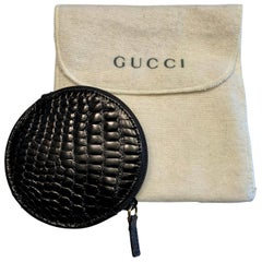 Gucci Round Zip Top Black Alligator Coin Purse, Never Used
