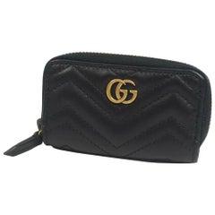GUCCI round zipper GG Marmont Womens key case 498127 black