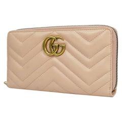 GUCCI round zipper GG Marmont Womens long wallet 443123 pink