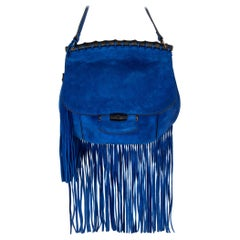 GUCCI royal blue suede FRINGE BAMBOO FLAP Shoulder Bag