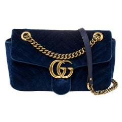 Gucci Royal Blue Velvet Small GG Marmont Shoulder Bag