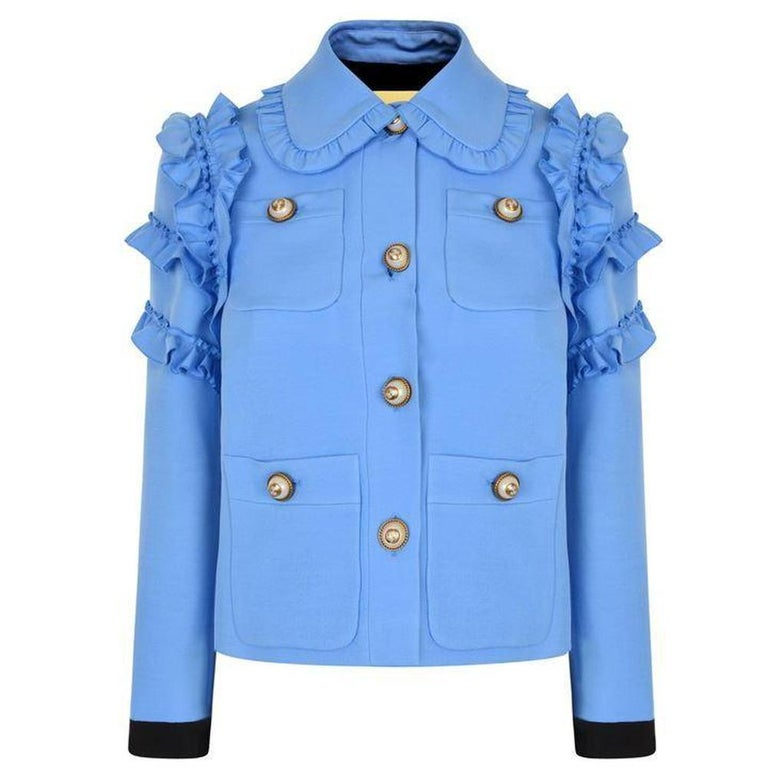 17337d7b1 GUCCI Ruffle Trimmed Cotton Blend Cady Jacket IT44 US 8-10 For Sale ...