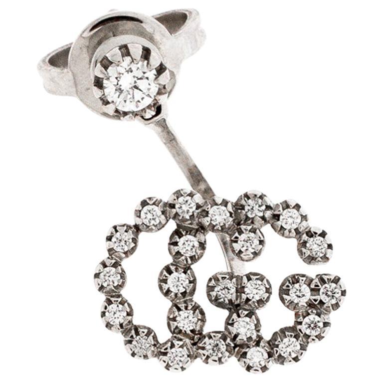 Gucci Run G Diamond 18K White Gold Single Earring For Sale