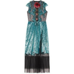 Gucci Runway Embroidered Tulle Blue Sequin Dress IT42 US4-6