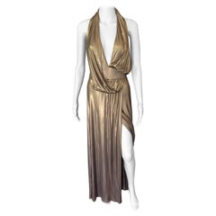 Gucci Runway F/W 2006 Plunging Neckline Backless Gold Metallic Dress Gown
