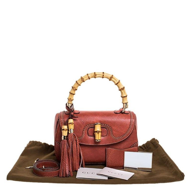 Gucci Rust Leather Medium Tassel New Bamboo Top Handle Bag For Sale 7