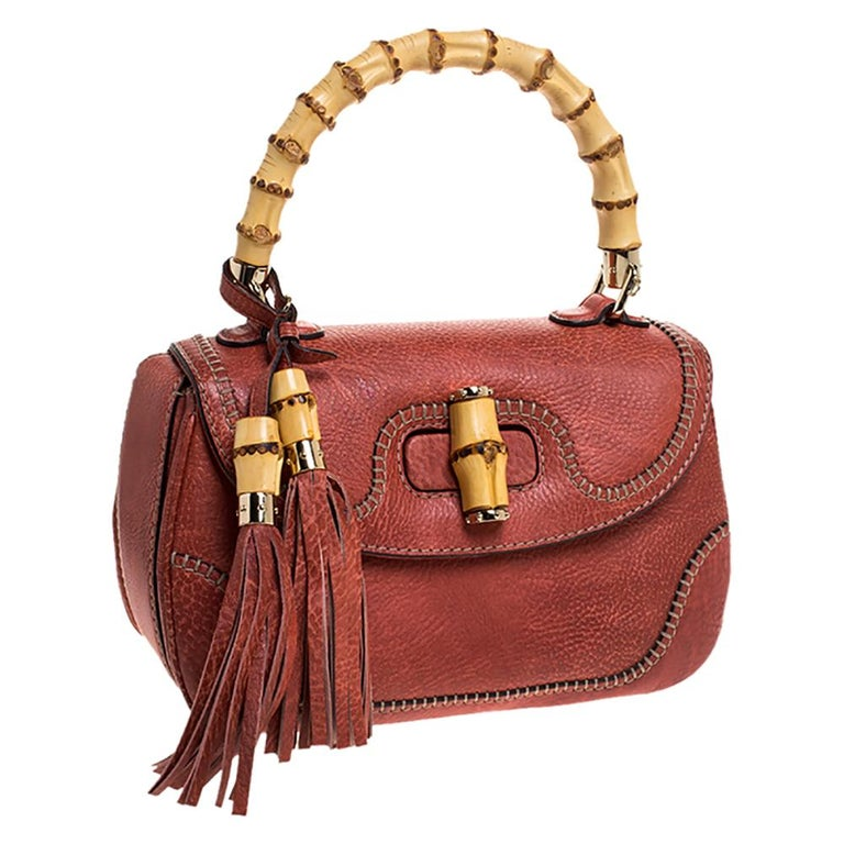 Gucci Rust Leather Medium Tassel New Bamboo Top Handle Bag In Good Condition For Sale In Dubai, Al Qouz 2