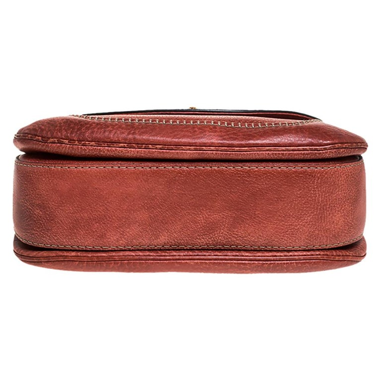 Women's Gucci Rust Leather Medium Tassel New Bamboo Top Handle Bag For Sale
