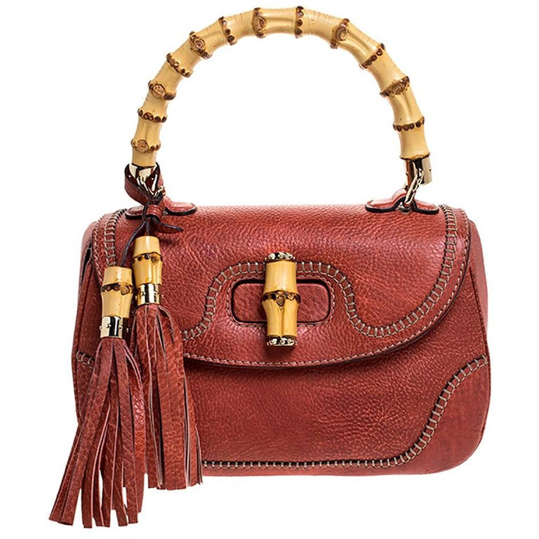 Gucci Rust Leather Medium Tassel New Bamboo Top Handle Bag For Sale