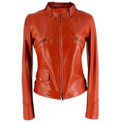 Gucci Rust Leather Studded Biker Jacket US2