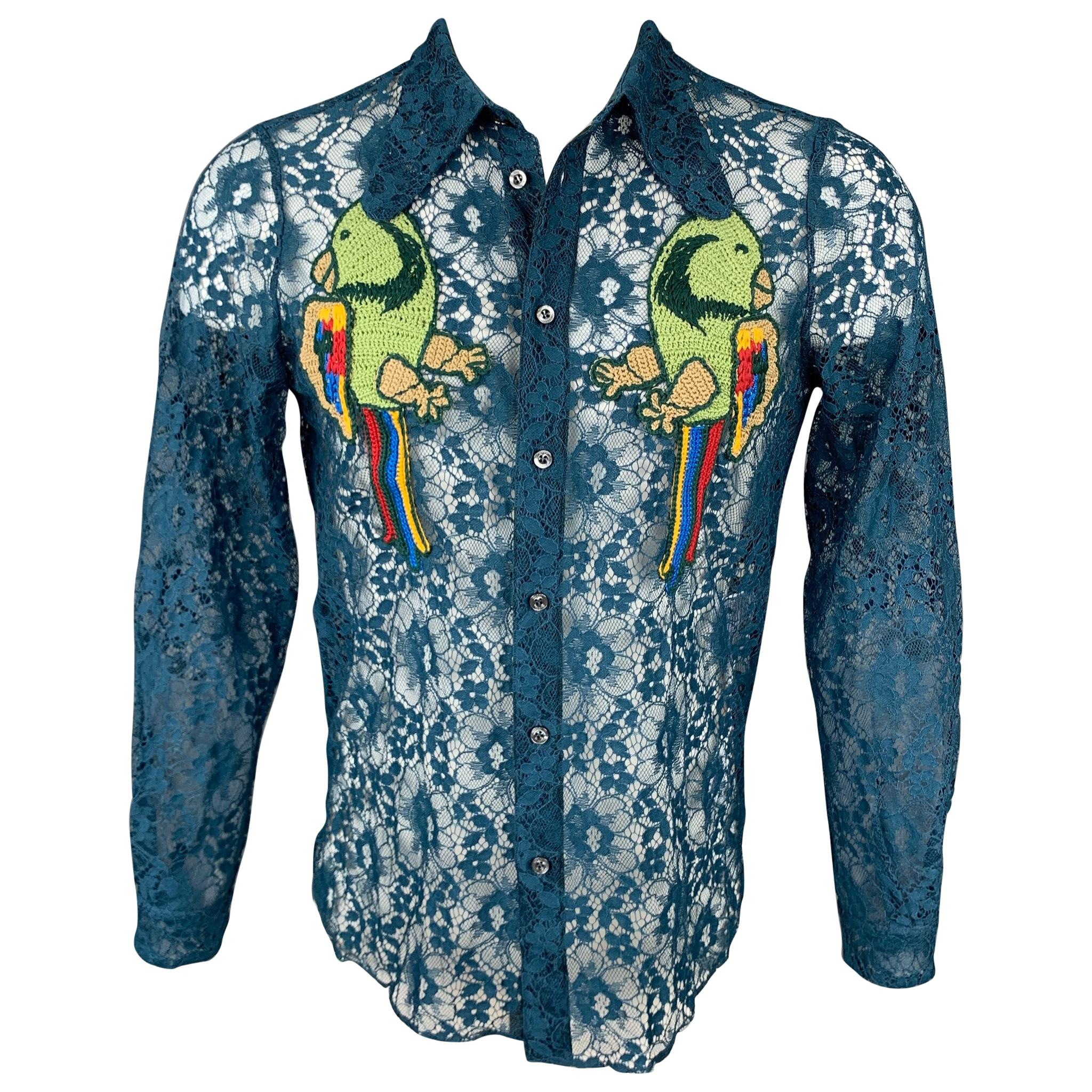 GUCCI S/S 16 Size S Teal Sheer Lace Embroidery Polyamide Blend Long Sleeve Shirt