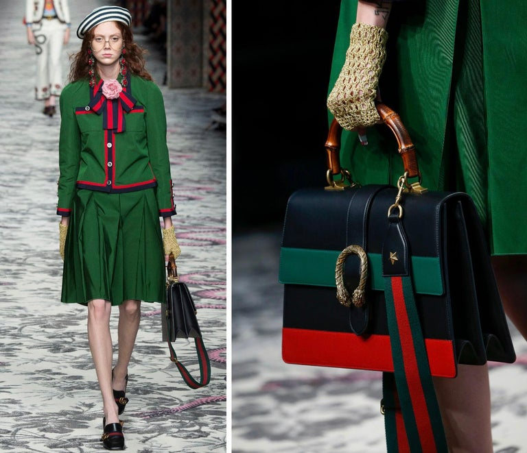 """GUCCI S/S 2016 """"Dionysus"""" Large Green Red Black Stripe Bamboo Top Handle Bag NWB For Sale 9"""
