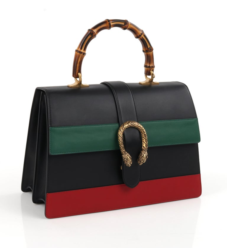 """GUCCI S/S 2016 """"Dionysus"""" Large Green Red Black Striped Bamboo Top Handle Bag NWB   Estimated Retail: $3,700.00   Brand/Manufacturer: Gucci  Collection: S/S 2016 - Runway Look #11 Designer: Alessandro Michele  Style: Top-handle bag Color(s): Black,"""