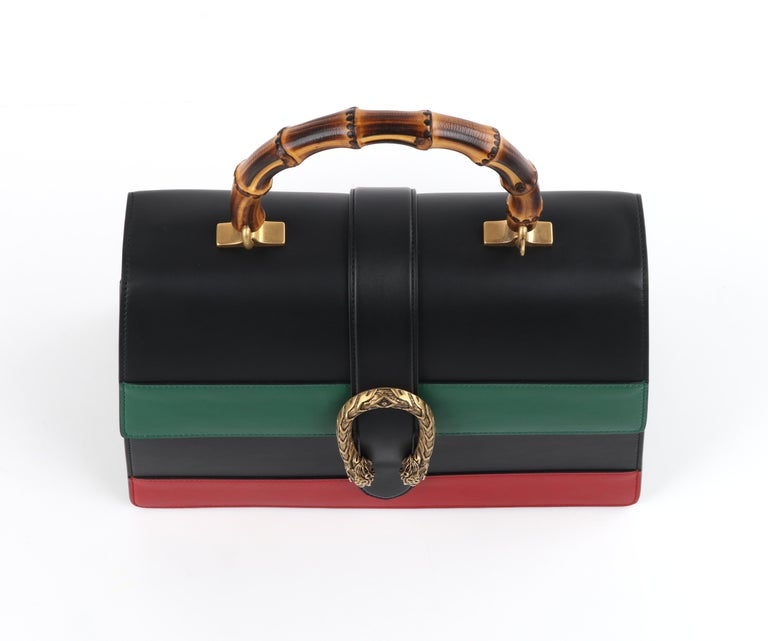 """GUCCI S/S 2016 """"Dionysus"""" Large Green Red Black Stripe Bamboo Top Handle Bag NWB For Sale 2"""