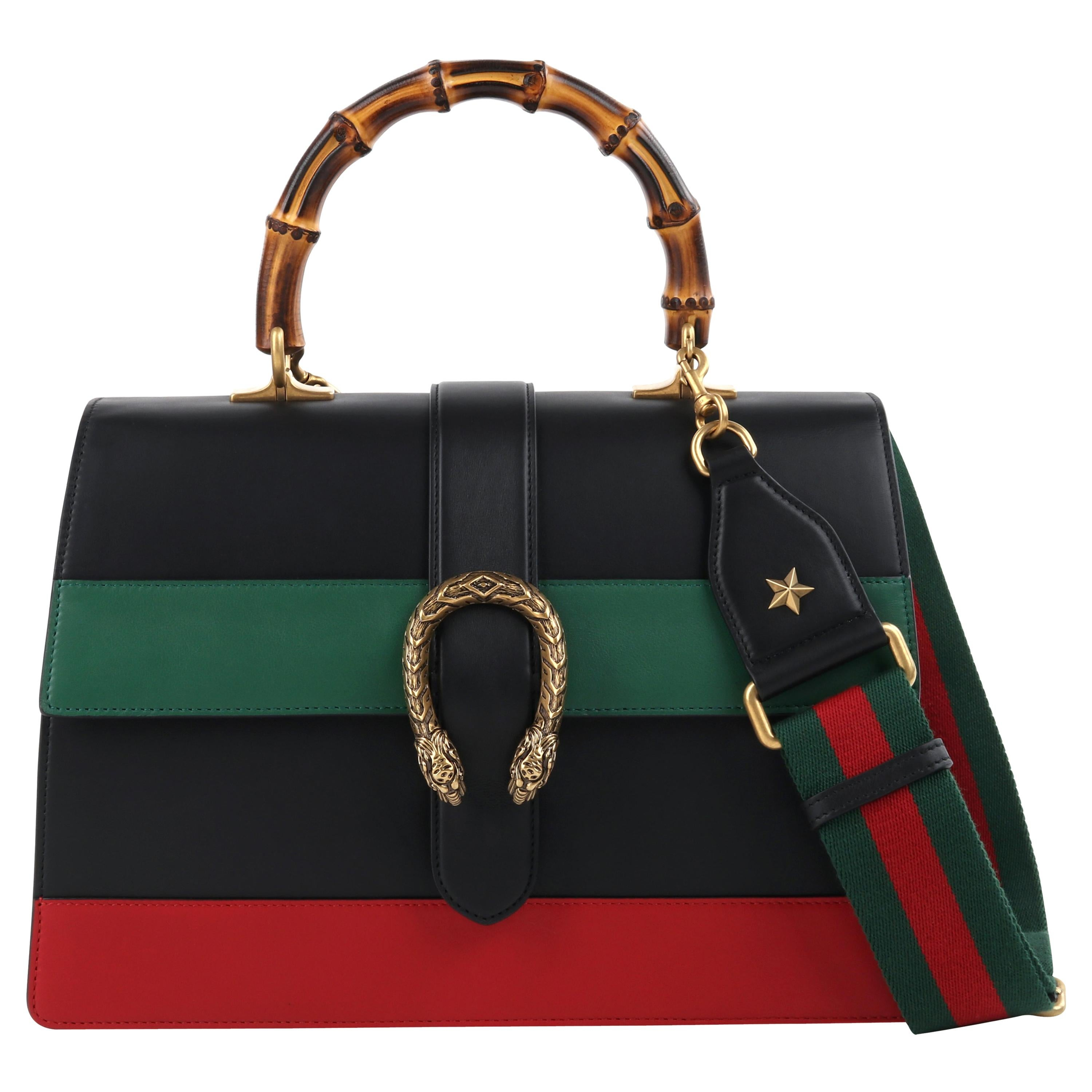 """GUCCI S/S 2016 """"Dionysus"""" Large Green Red Black Stripe Bamboo Top Handle Bag NWB"""