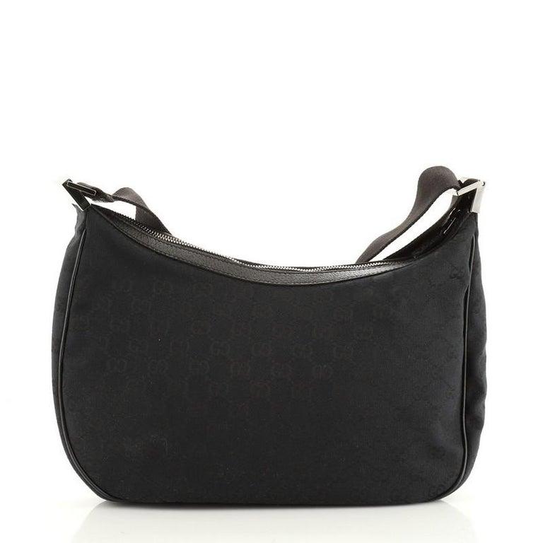 Black Gucci Saddle Zip Messenger Bag GG Canvas Medium