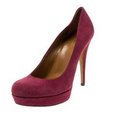 Gucci Scarlet Red Suede Platform Pumps Size 37