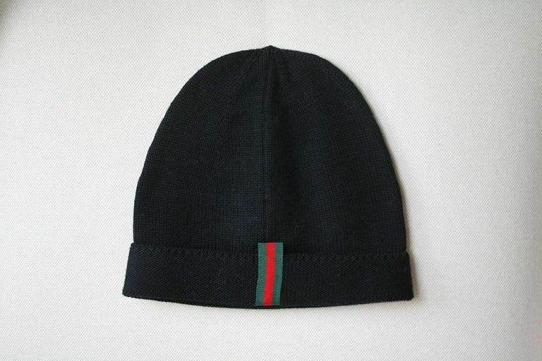 Black Gucci Sequinned Wool Hat  For Sale