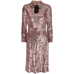 GUCCI Sequins with Crystals Embroidered Cocktail Dress IT42 US 4-6