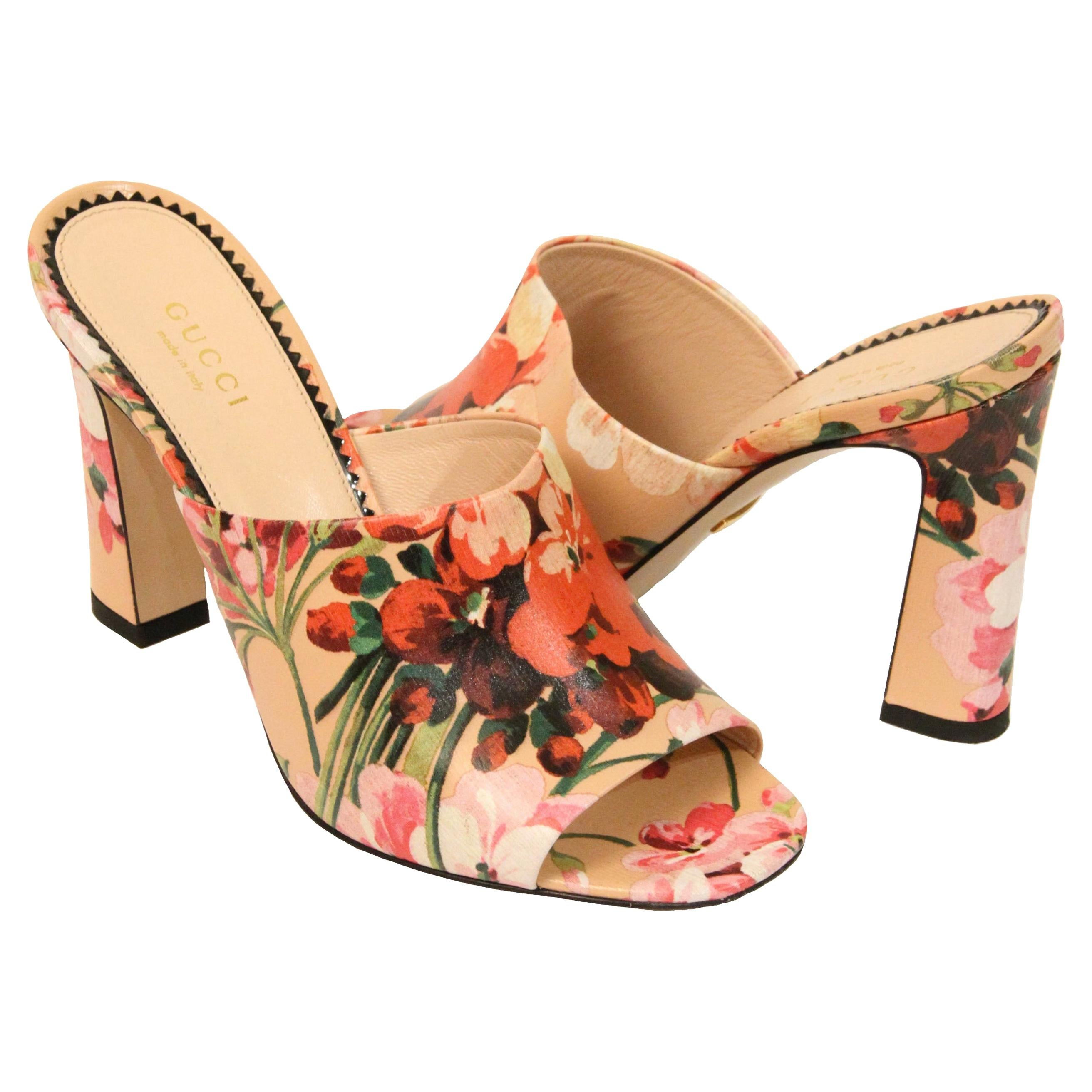 Gucci Shanghai Bloom Print Leather Heeled Mules NEW