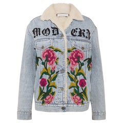 Gucci Shearling-Lined Embroidered-Denim and Jacquard Jacket