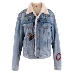 Gucci Shearling-Lined Embroidered Denim Jacket - Size Large - IT46