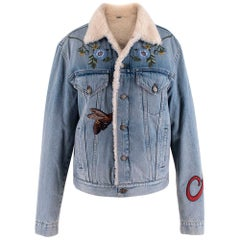 Gucci Shearling-Lined Embroidered Denim Jacket US10