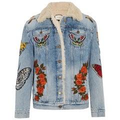 Gucci Shearling-Trimmed Appliquéd Denim Jacket