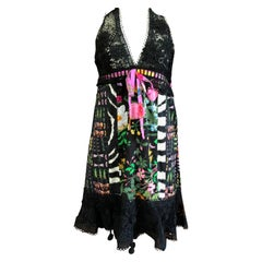 Gucci Sheer Guipure Lace Halter Dress with Insect & Flora Pattern and Pom Poms