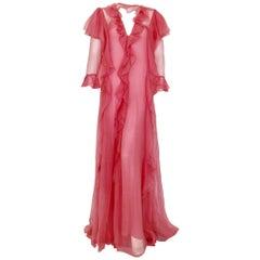 Gucci sheer ruffled gown