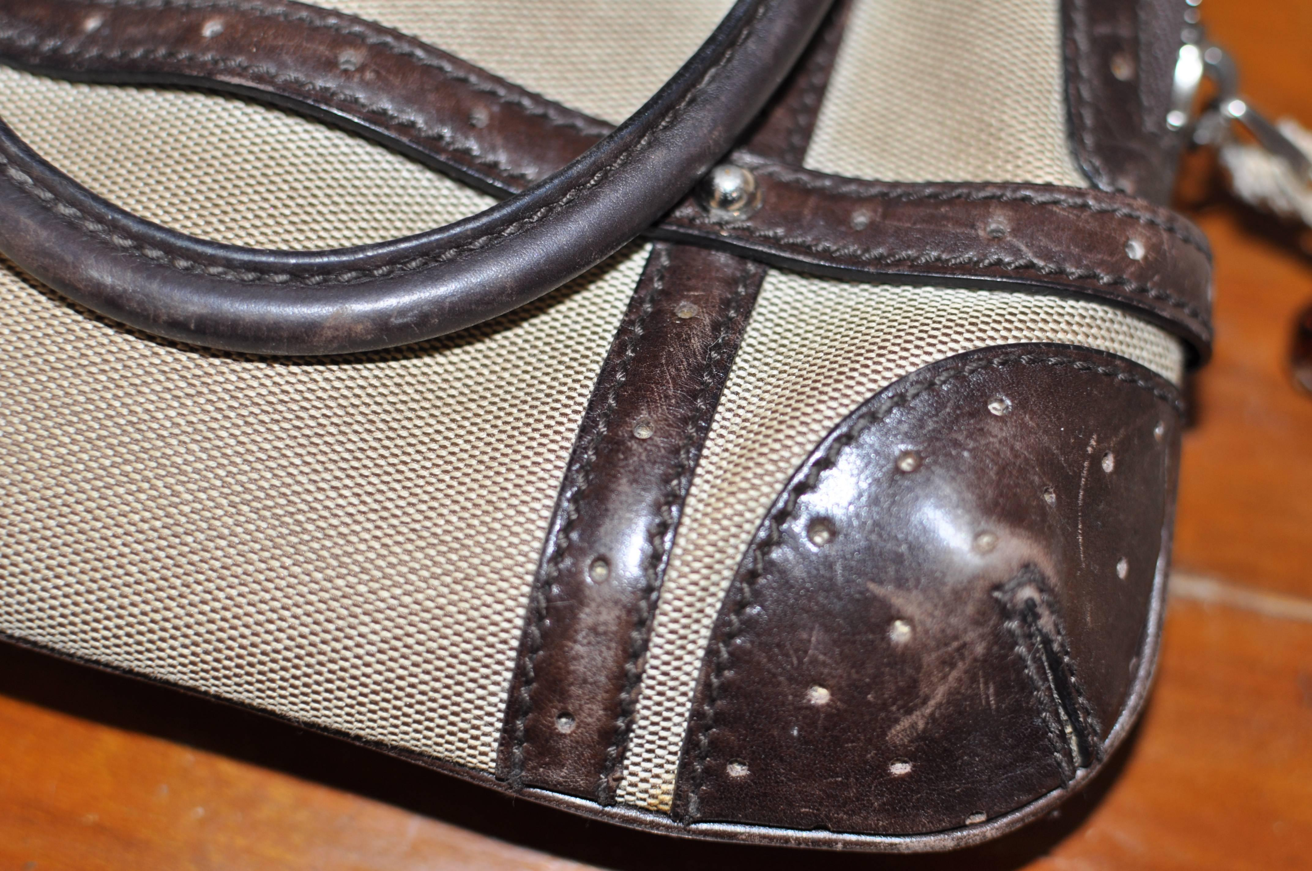 Gucci Sherry Line Vintage Perforated Leather And Canvas 114880 1781 Handbag 797GZk