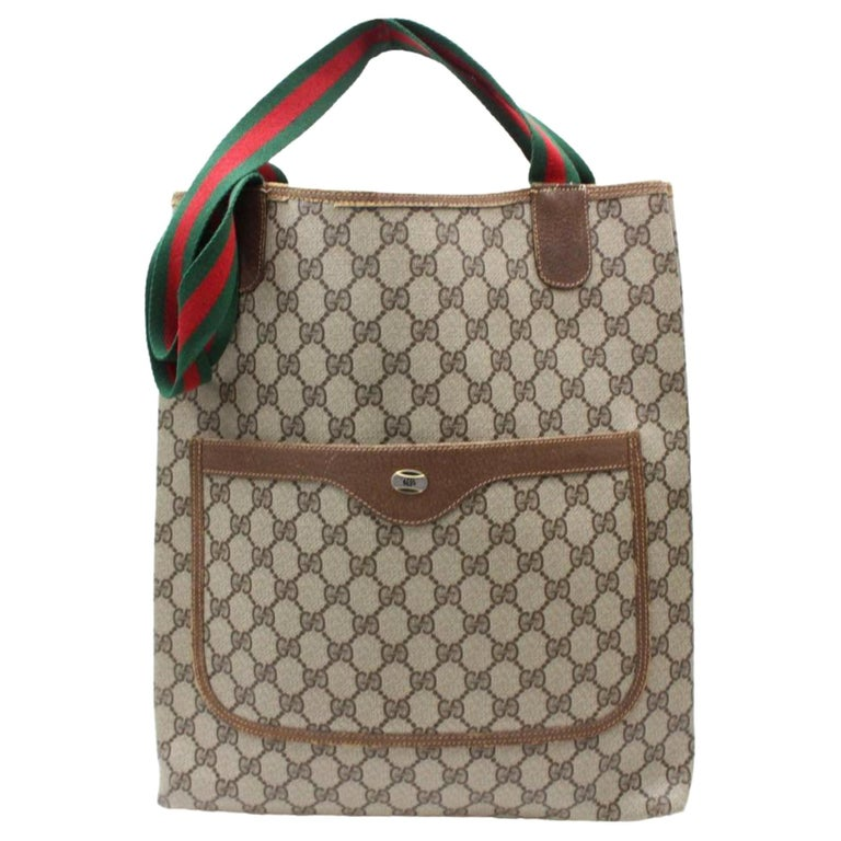a62af1402841d3 Gucci Sherry Supreme Monogam Large Web Shopper 869902 Brown Coated Canvas  Tote For Sale
