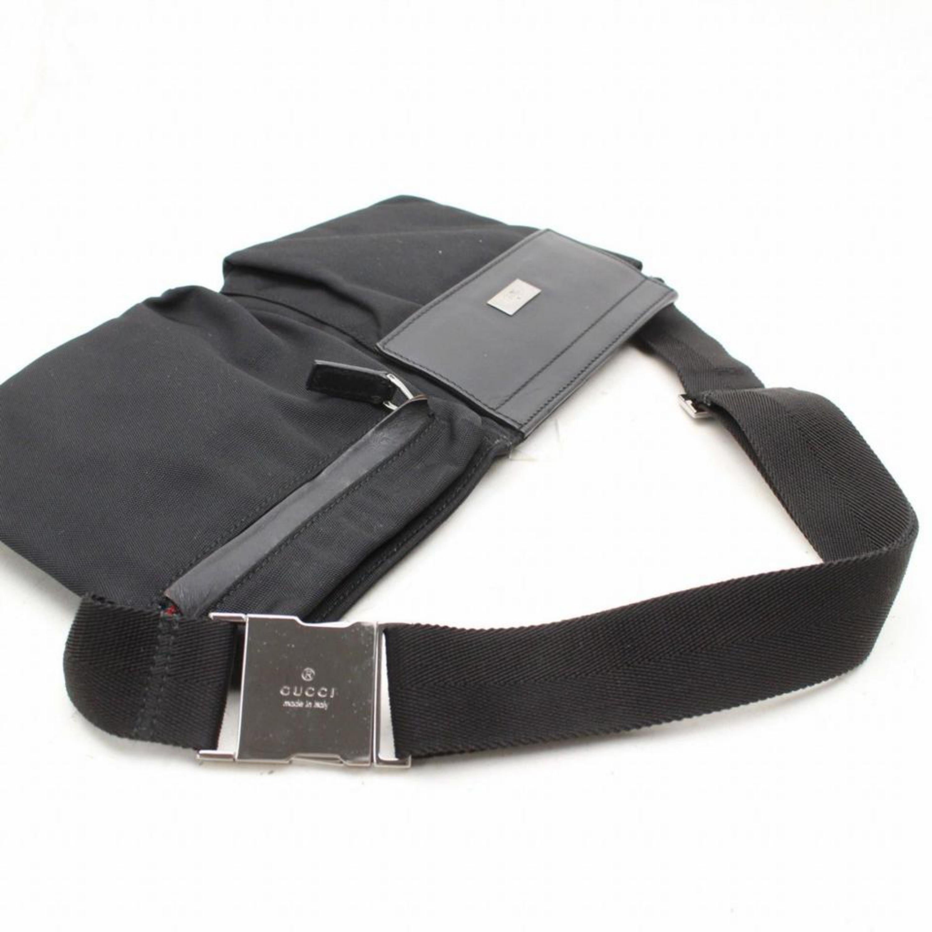 95e4b1ffcead Gucci Sherry Web Fanny Pack Waist Pouch 868544 Black Nylon Cross Body Bag  For Sale at 1stdibs