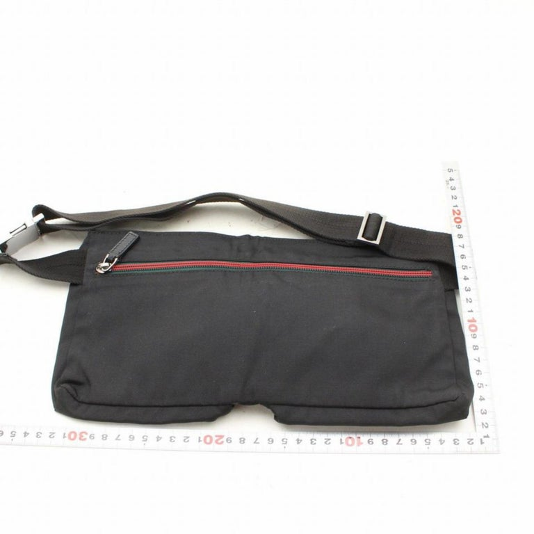 e15e040e6fa Gucci Sherry Web Fanny Pack Waist Pouch 868544 Black Nylon Cross Body Bag  For Sale 3