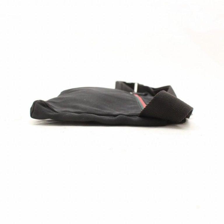 99a3cf101a4 Gucci Sherry Web Fanny Pack Waist Pouch 868544 Black Nylon Cross Body Bag  For Sale 5