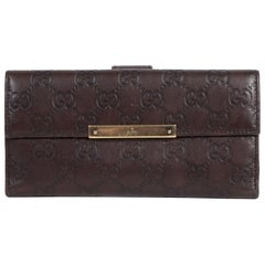 Gucci Shima GG Logo Brown Leather Long Wallet