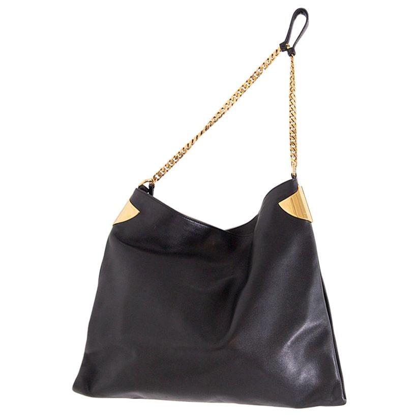 Gucci Shoulder Bag Black Leather 1970 Collection