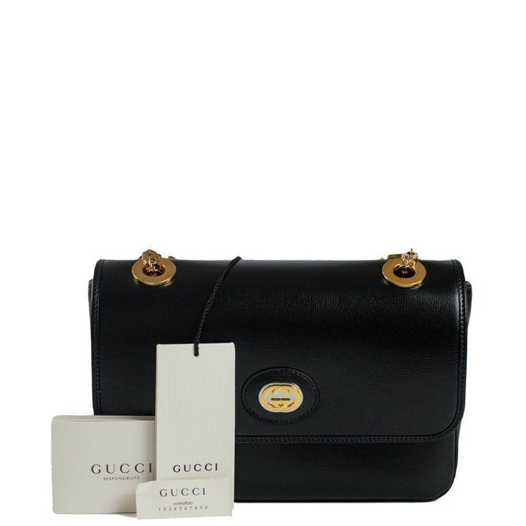 GUCCI Shoulder bag in Black Leather For Sale 12