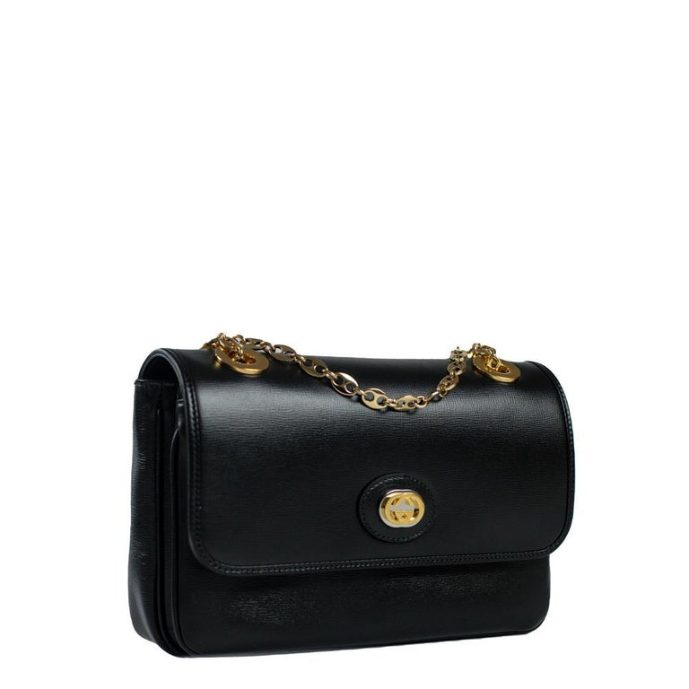GUCCI Shoulder bag in Black Leather In Excellent Condition For Sale In Clichy, FR