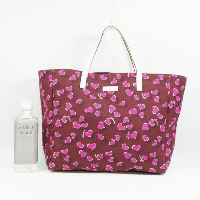 GUCCI shoulder tote heart Womens tote bag 282439 Bordeaux x white For Sale 6