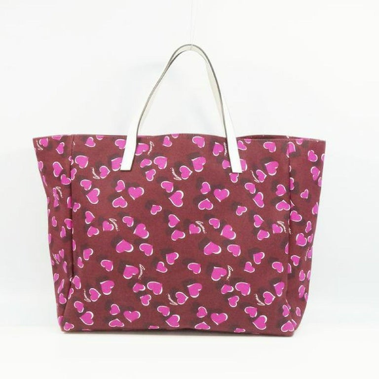 Brown GUCCI shoulder tote heart Womens tote bag 282439 Bordeaux x white For Sale