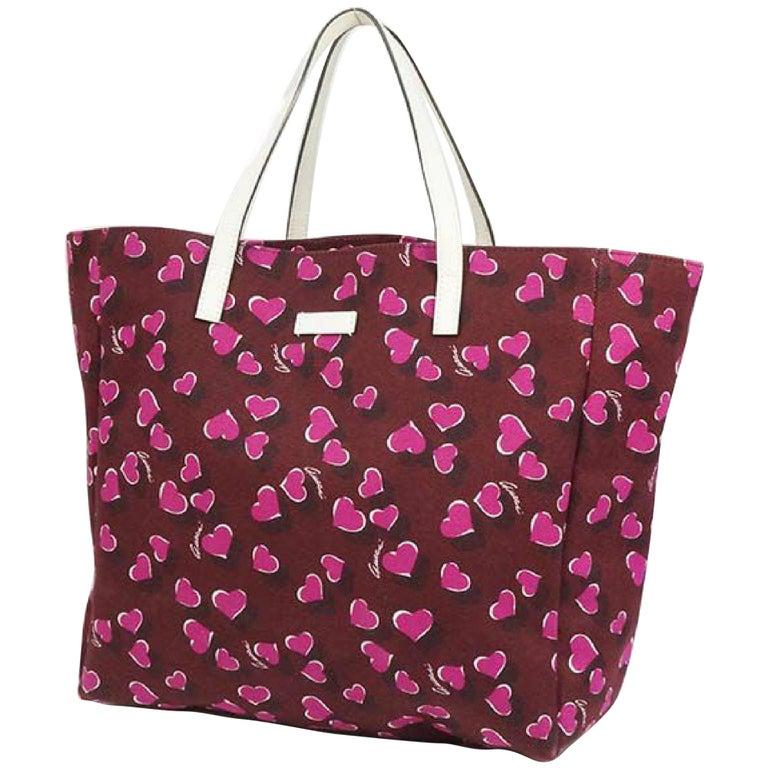 GUCCI shoulder tote heart Womens tote bag 282439 Bordeaux x white For Sale